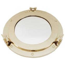 Miroir hublot ouvrant (30 cm - laiton brillant )