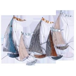 Sculpture 5 voiliers métal/bois drap. D