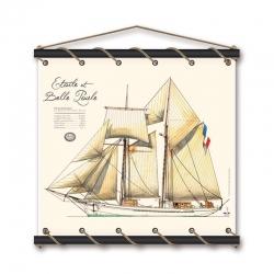 Etoile et Belle Poule aquarelle 75x70