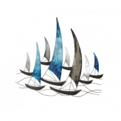 Sculpture régate bleu/argent