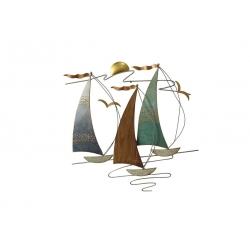 Sculpture trois voiliers dans le vent bois-métal