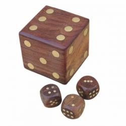 Jeu Dés Coffret (6 cm - bois clair - Cube)