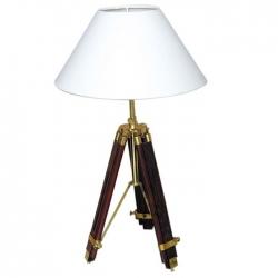 Lampe Trépied Bois (PM - Laiton brillant - Palissandre)