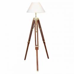 Lampe Trépied Bois (Maxi - Laiton brillant - Palissandre)