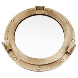 Miroir hublot ouvrant (30 cm - laiton patiné)
