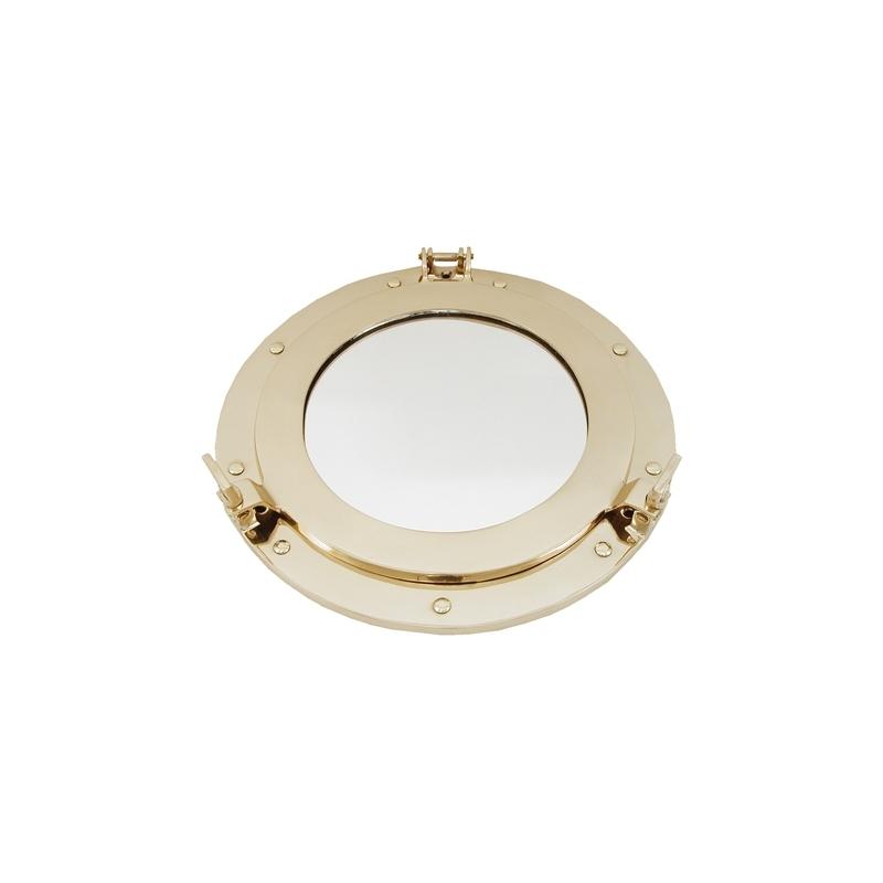 Miroir hublot ouvrant (38 cm - laiton brillant )