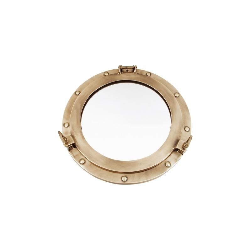 Miroir hublot ouvrant (51 cm - laiton patiné)